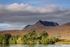 Ben More Coigach and Loch Cul Dromannan (Karen Thorburn Photography) Tags: blue autumn trees sky cloud mountain lake mountains green fall water landscape scotland highlands outdoor hill foliage loch ullapool assynt scottishhighlands benmorecoigach inverpolly coigach