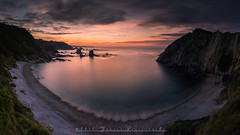 Silence (Tomasz Raciniewski) Tags: longexposure sunset sea panorama seascape beach water clouds landscape atardecer spain nikon waves outdoor sigma asturias serene 1020 haida nd400 d3200 playadesilencio