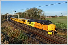 37421, Long Buckby, 1Q08 (Jason 87030) Tags: november light test orange sun tractor color colour yellow canon flickr diesel rugby transport northamptonshire railway trains scene location pole locomotive derby northants growler rtc 2015 colas networkrail longbuckby november12 wcml lineside 12november 97310 37421 1q08 jasonrodhouse westcoastmaionline