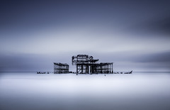 Isolated (EXPLORE 26.11.2015) (FernyyB) Tags: old longexposure blue sky seascape water beautiful beauty clouds skeleton coast ruins brighton unitedkingdom south smooth calm structure westpier serene seafront finest ndfilters bigstopper eastsussxe