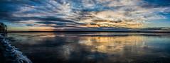 Into the day. (kentaddition) Tags: morning sky lake reflection beach water minnesota skyline sunrise landscape golden flickr shore hour bemidji