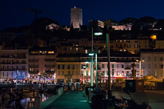 Cannes at night (David Vu.) Tags: city sea summer vacation sun holiday france hot beach nature night lens landscape 50mm prime harbor nikon warm mediterranean harbour cannes sunny monaco southern cote 18 landschaft ville dazur f18g