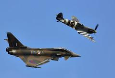 Spitfire & Typhoon (Bernie Condon) Tags: supermarine vickers spitfire spit raf military warplane fighter ww2 fightercommand battleofbritain eurofighter typhoon bae swingrole royalairforce bomber jet multirole multinational