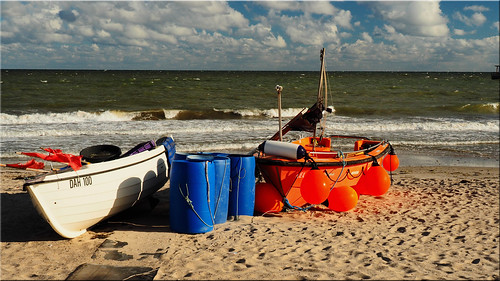 Fishing boats on the beach of the Baltic Sea
