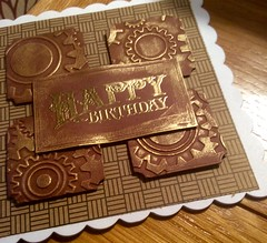 A masculine birthday card (margaret.pilkington47) Tags: masculine greetingcard handmade cogs wheels embossed burnished