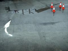 The Arrow and the Cones... 2016. (Dave Whatt) Tags: arrow cones composition drama confrontation grey red white fromabove tension humour