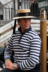 Venezia / Venice Gondolier (Vortex Photography - Duncan Monk) Tags: venezia venice gondola gondolier hat clothing italy romantic city boat punt bridge canal canals bridges sighs st marcs rialto pose person male man portrait