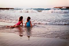 Sunset Beach (BrianMills) Tags: beach kids warm tones contrast light sunset capture lines water sea