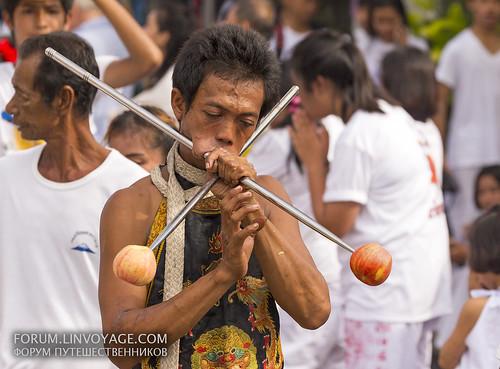 Street procession. Phuket Vegetarian Festival. October, 2016. Phuket, Thailand
