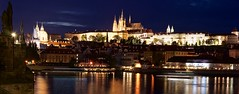 Prague looks absolutely stunning at night (somabiswas) Tags: prague chralesbridge castle night lights czechrepublic vltava river