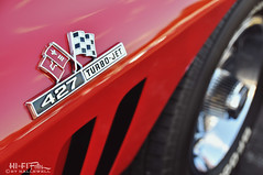Big Boy Vette (Hi-Fi Fotos) Tags: chevy corvette c2 vintage 427 big block turbo jet badge detail chrome red american sportscar classiccar flags chevrolet nikon d5000 hififotos hallewell