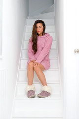 Layla - Boucle Hoodie Dress - Dusky Pink (Bedroom Athletics) Tags: womens layla boucle hoodie dress dusky pink by bedroom athletics relaxed fit front pouch pocket pom drawstring hood branded suede logo patch buy shopping need want dusty pinks girl lady womans lush love lovely lounge sunday chill out fun funny warm woman warmth nice gift shoe slipper furry comfortable comfort happy cosy
