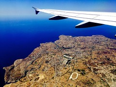 Malta from the air. (In Julie's lens) Tags: plane window seat malta avion trip travel traveling explore europe sea summer flight