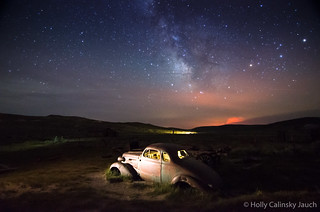 Milky Way over rusted car at Bodie