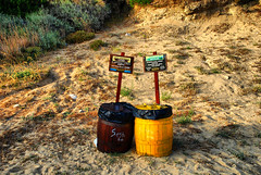 Trashcans (jimiliop) Tags: brown beach yellow garbage colours trashcans recycle