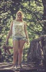 Bear me (marctriumph) Tags: bear park bridge trees portrait woman girl bomen woods legs outdoor jeans blond short teddybear blonde shorts portret bos rippedjeans vrouw canon85mmf18 jeansshort jeansshorts jongedame canon6d rippedshort