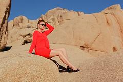 Blue, yellow and red (Mariusz Murawski) Tags: california red sky woman color mamiya film girl fashion rock landscape rocks dress desert kodak outdoor joshuatreenationalpark mamiyarb67 mamiyarb67prosd kodakektar100 martamurawska