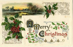 Antique Christmas Postcard - Country Scene (Brynn Thorssen) Tags: santa christmas xmas red house lake holiday snow green forest vintage gold frost antique holly postcards yule fatherchristmas santaclaus merrychristmas santaklaus happynewyear happychristmas yuletide oldsaintnick