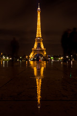 Tower - rewoT (_NicoDem_) Tags: light paris france reflection tower rain night canon tour mark pluie eiffel ii 5d nuit rflexion 5dmarkii 5dmkii