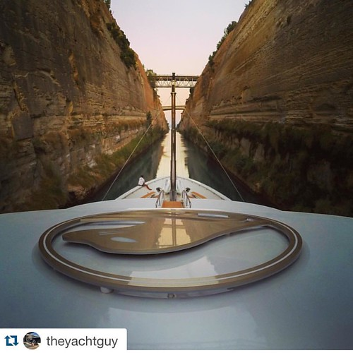 "#Repost @theyachtguy Cruising through the Corinth Canal aboard ""SEALYON"" 