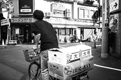 Tokyo_Shop_delivery 2 (Vincent Albanese) Tags: life street light people bw woman sunlight man bike japan shop dark walking photography japanese fuji shadows candid transport sydney inspired streetphotography saturday australia pedestrian smoking explore adobe biking fujifilm midday learn shopfront brilliance lightroom amatuer shopkeeper allpeople presets 23mm mirrorless xpro1 inspiredeye lightroom5 xf23mm x100s xf27mm elephantgunpreset
