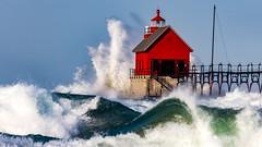 Wild Day on Lake Michigan (Explore 10-19-2015) (Mi Bob) Tags: gale winds grandhavenpier