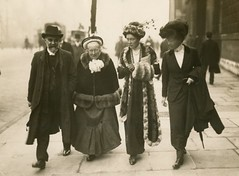 Elizabeth and Louisa Garrett Anderson, Alfred Caldecott and another, c.1910.