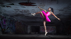 Dancing in the dark (strokey blofeld) Tags: pink people ballet abandoned girl female canon person graffiti athletic model dancer disused derelict tutu