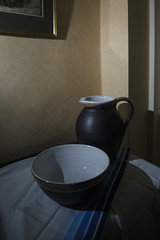 empty v.i (Wendy:) Tags: stilllife stripes shift indoor bowl bow ocf jug tilt odc speedlite shanagarrypottery