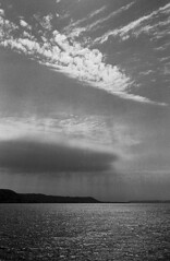 Lake Pepin, near Lake City, 2001 (RDM: My_Images) Tags: summer blackandwhite storm water minnesota river landscapes mississippiriver lakecity lakepepin theminnesotaproject myblackwhiteimages