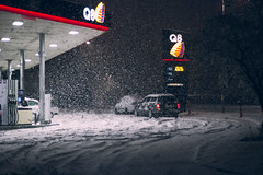 Q8 (MalteRasmussen) Tags: street city blue winter light red urban snow signs cold cars colors car station weather contrast canon dark denmark outside colorful moody colours silent snowy empty grain atmosphere gas petrol grainy q8 roaming
