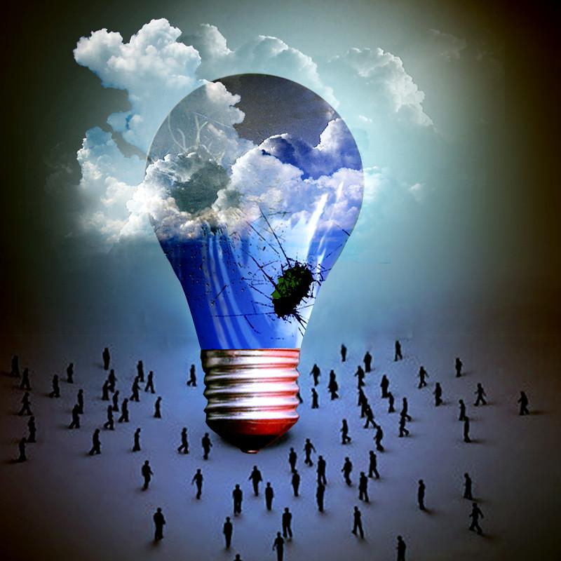 The Cloud Of Transformation (jaci XIII) Tags: Cloud Lamp Lightbulb Pessoas  Transformation Surrealism