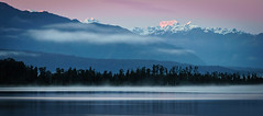 Lake Ianthe, West Coast, New Zealand (sandybrinsdon) Tags: mist mountains westcoast sunrise lakeiangthe flickr hazelakereflection