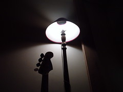 Shedding some light (oldredg51) Tags: bass guitar light shade lamplight standard eerie arty fender lampshade shadow