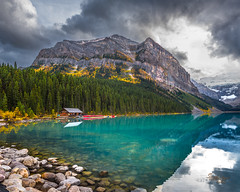 Fairview Mountain, Lake Louise (Ms Stacy) Tags: banffnationalpark mountains mountain clouds lake blue glacial canada water rocky