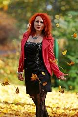 Jessica (AV art) Tags: autumn fall leaves october finland girl young woman syksy syksyn lehdet ruska suomi tytt nuori nainen