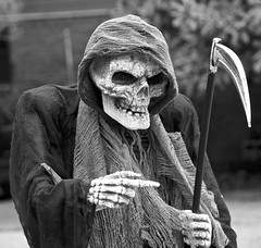 Here I come, ready or not! (Pejasar) Tags: grimreaper halloween decor decoration mask haunted october holiday autumn boney hand skeleton hooded