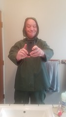 Bathroom Duty (ac_343) Tags: green rainwear heavy rainsuit raingear fun thick pvc protection