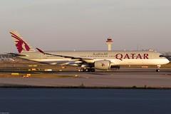 Qatar Airways -  A350-941, A7-ALH (Bernd 2011) Tags: qatarairways airbus a350 a350941 a359 941 a7alh fra eddf sunset fraport taxiing aviation plane spotting canon powershot sx50hs