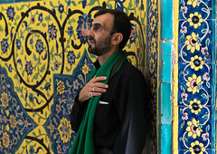 Shiite man praying in front of colorful faience tiles at shrine of sultan ali, Kashan county, Mashhad-e ardahal, Iran (Eric Lafforgue) Tags: 1people adult adultsonly ancient architecture art artandcraft ceramic colorimage coloured cultural culture decorated decoration heritage history horizontal iran iranianculture kashancounty mashhadeardahal middleeast mosaic multicoloured mural onemanonly oneperson orient ornate pattern persia persian portrait tile tiled tiles tilework traditional