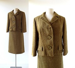 1950s olive-brown wool boucle suit, Tailored by Gaynes (Small Earth Vintage) Tags: smallearthvintage vintagefashion vintageclothing suit 1950s 50s skirtsuit brown olive woolboucle tailoredbygaynes