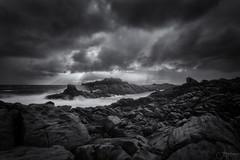 Storm Beams (Crouchy69) Tags: sunset dusk landscape seascape ocean sea water coast clouds sky storm rain black white mono canal rocks yalingup western australia