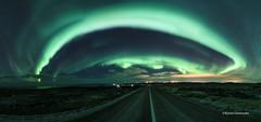 The Aurora Town (Kjartan Gumundur) Tags: iceland sland reykjanes auroraborealis northernlights norurljs nocturne nightphotography nordlys zorzapolarna polarlict stars sky outdoor road canoneos5dmarkiv tokinaatx1628mmf28profx kjartangumundur arctic photoguide ngc