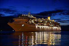 Night cruise (Sophai900) Tags: water night white sea yellow light cruise ship