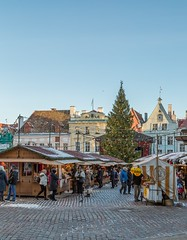 Christmas Market In Tallinn City Hall Square (AudioClassic) Tags: christmasmarket tallinn cityhall square holydays new year sprucetreebranch people peaceful sky blue town balticcountries estonia winter december market landmark