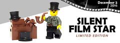 Silent Film Star Banner (BrickWarriors - Ryan) Tags: brickwarriors custom lego minifigure silent film star mustache top hat gentleman pipe actor 1940
