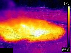 Thermal image of Spasmodic Geyser erupting (late afternoon, 11 August 2016) 1 (James St. John) Tags: spasmodic geyser sawmill group upper basin yellowstone hotspot volcano wyoming hot spring springs geysers thermal image temperature