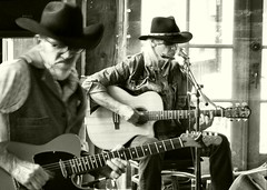 Saturday afternoon on the deck (MROEDEL) Tags: roedel madridminer madrid monochrome new mexico guitar hats blues country music
