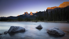 A Canmore Sunrise (andrewpmorse) Tags: canmore alberta canada mountains dawn sunrise rocks river canon 6d 24105f4l alpineglow longexposure morning bowriver water