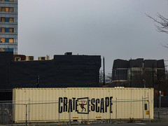 The Crate Escape (Steve Taylor (Photography)) Tags: thegreatescape crate escape container puzzle interactive game trapped inside design sign building newzealand nz southisland canterbury christchurch cbd city